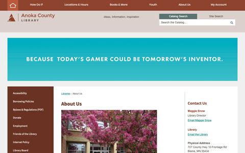 Screenshot of About Page anokacounty.us - About Us | Anoka County, MN - Official Website - captured Oct. 24, 2018