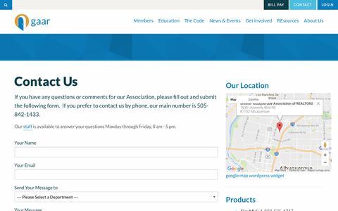 Screenshot of Contact Page gaar.com - Contact Us | Greater Albuquerque Association of REALTORS® - captured June 24, 2017
