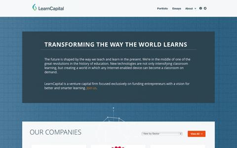 Screenshot of Home Page About Page Contact Page Team Page learncapital.com - Learn Capital - captured Sept. 29, 2014