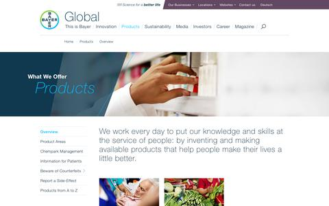Screenshot of Products Page bayer.com - Products - What We Offer - Bayer - captured Feb. 7, 2018
