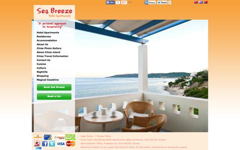 Screenshot of Home Page seabreezechios.com - Sea Breeze Hotel Apartments, Chios, Recreation, Travel, Vacation, Greece   seabreezechios.com - captured Oct. 6, 2014