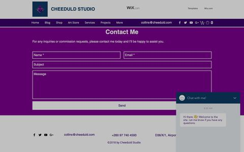 Screenshot of Contact Page cheeduld.com - Contact | Cheeduld Studio - captured Nov. 10, 2018