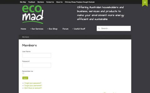 Screenshot of Login Page ecomad.com.au - Members - Ecomad - captured Oct. 3, 2014