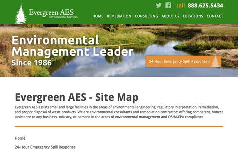 Screenshot of Site Map Page evergreenaes.com - Evergreen AES | Environmental Contractors and Consultants - captured Jan. 31, 2016