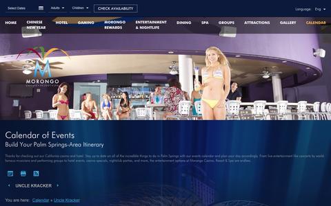 Screenshot of morongocasinoresort.com - Morongo Casino Events | Morongo Casino Resort - captured Feb. 10, 2017