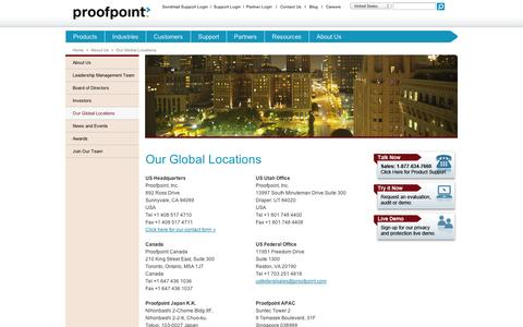 Screenshot of Contact Page nextpage.com - Proofpoint Global Locations Email Privacy, Security Protection, and Archiving - Proofpoint - captured Sept. 11, 2014