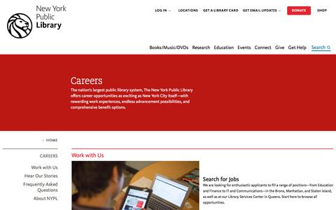 Screenshot of Jobs Page nypl.org - Careers | The New York Public Library - captured Sept. 24, 2017