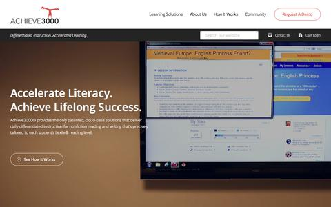Screenshot of Home Page achieve3000.com - Differentiated Instruction Solutions | Achieve3000 - captured Nov. 3, 2015