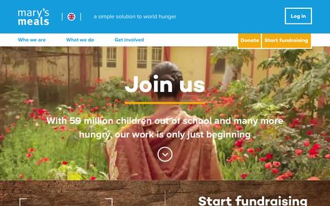 Screenshot of Home Page marysmeals.org.uk - Home | Mary's Meals - captured Feb. 14, 2016