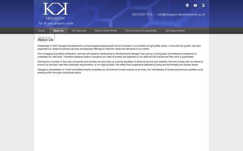 Screenshot of About Page hexagon-developments.co.uk - Hexagon Developments | About Us - captured Oct. 2, 2014
