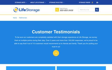 Screenshot of Testimonials Page lifestorage.com - Reviews and Testimonials for Life Storage locations - captured Aug. 2, 2017