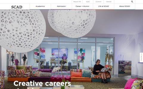 Screenshot of Home Page scad.edu - The University for Creative Careers | SCAD - captured Oct. 20, 2015