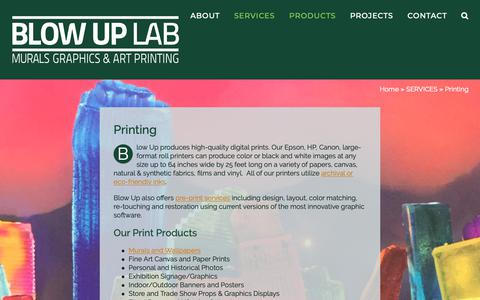 Screenshot of Products Page blowuplab.com - Custom Printing Services - Photos, Graphics, Art and Murals - captured Nov. 6, 2018
