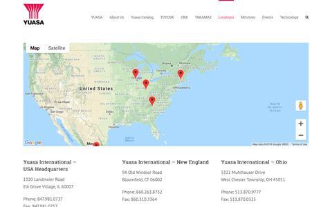 Screenshot of Locations Page yuasa-intl.com - Locations - yuasa-intl - captured Oct. 19, 2018