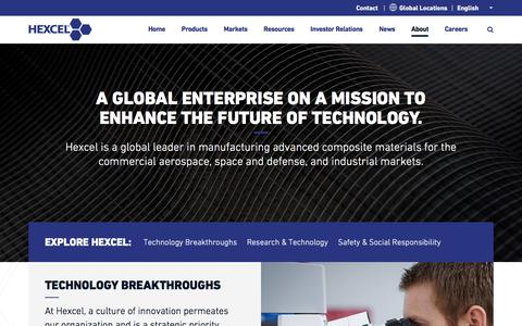 Screenshot of About Page hexcel.com - About   Hexcel - captured July 3, 2017