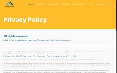 Screenshot of Privacy Page alifmeem.com - Privacy Policy | The Digital Marketing Agency | Alifmeem Digital - captured Nov. 20, 2016