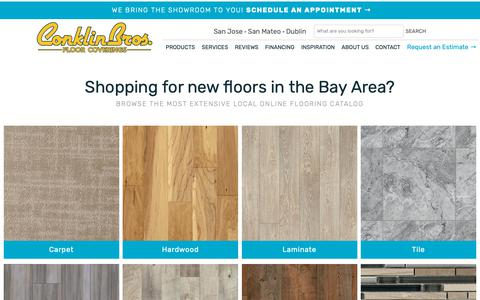 Screenshot of Products Page conklinbros.com - Shop for flooring in San Jose, Dublin & San Mateo, CA from Conklin Bros. Floor Coverings - captured Nov. 5, 2018