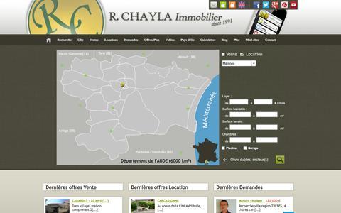 Screenshot of Locations Page chaylaimmobilier.com - Recherche détaillée   Agence immobiliere à Carcassonne Aude   Achat, Vente, Location de Maisons et Appartements - captured Oct. 6, 2014