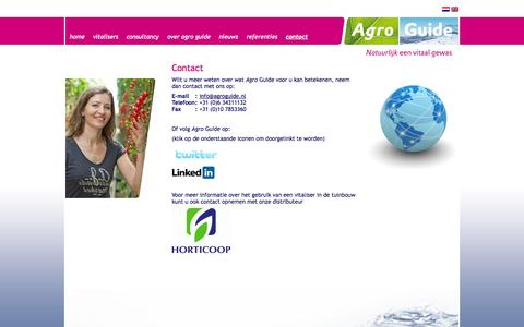 Screenshot of Contact Page agroguide.nl - Agro Guide - Contact - captured Sept. 30, 2014