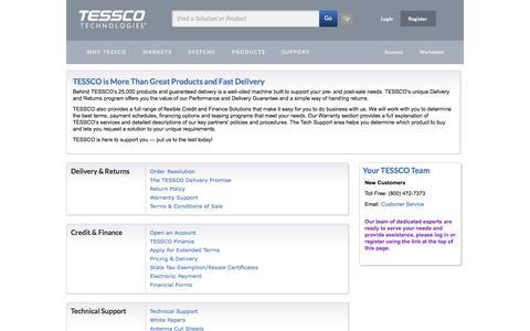 Screenshot of Support Page tessco.com - Customer Service and Support - TESSCO.com - captured Feb. 11, 2016