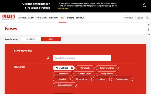 Screenshot of Press Page london-fire.gov.uk - News | London Fire Brigade - captured Sept. 27, 2018