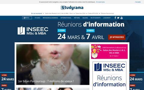 Screenshot of Home Page studyrama.com - STUDYRAMA - Actualite de l'orientation et de l'emploi etudiant - captured March 17, 2018
