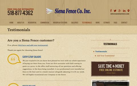 Screenshot of Testimonials Page sienafence.com - Fencing Testimonials   Fencing Residential   Commercial Industrial Fences - captured Oct. 9, 2014