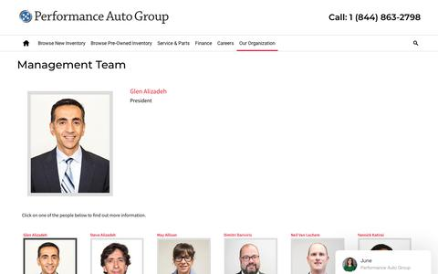 Screenshot of Team Page performance.ca - Management Team | Performance Auto Group - captured Feb. 22, 2018