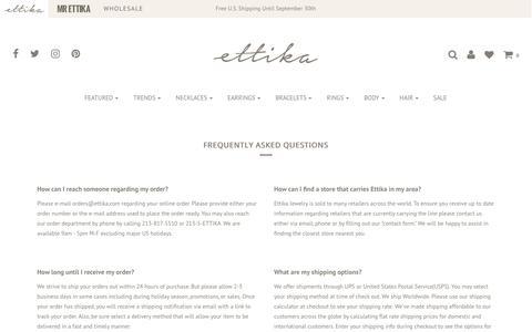 Screenshot of FAQ Page ettika.com - ettika faq – Ettika - captured Sept. 23, 2019