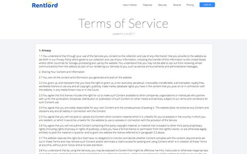 Screenshot of Terms Page rentlord.com - The Easiest Way to be a Landllord - captured Nov. 1, 2017