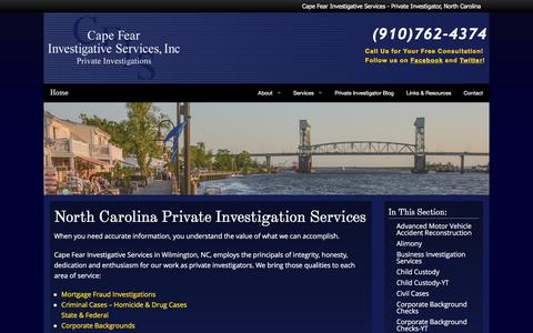 Screenshot of Services Page capefearinvestigative.com - North Carolina Private Investigation Services | Cape Fear Investigative Services - captured Jan. 24, 2016