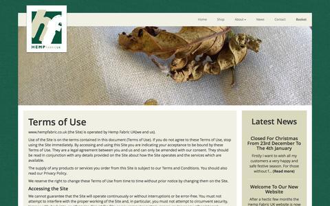 Screenshot of Terms Page hempfabric.co.uk - Hemp Fabric UK - Terms of Use - captured Jan. 28, 2016