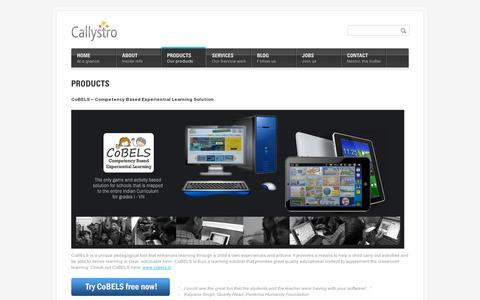 Screenshot of Products Page callystro.com - Products | Callystro | Award Winning Learning Solutions | Game Based Learning Content for Schools - captured July 19, 2014