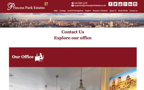 Screenshot of Contact Page princessparkestates.co.uk - Contact Us - Princess Park Estates - North London Estate Agent - captured July 22, 2018