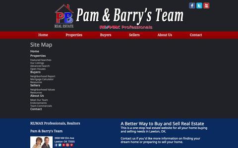Screenshot of Site Map Page pamandbarry.com - Site Map - captured Sept. 26, 2018
