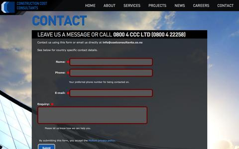 Screenshot of Contact Page costconsultants.co.nz - Contact Us | Construction Cost Consultants | NZ | Construction Cost Consultants - captured Oct. 2, 2014