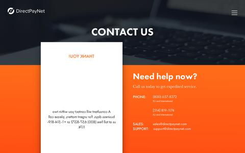 Screenshot of Contact Page directpaynet.com - Contact Us | DirectPayNet - captured Dec. 9, 2018