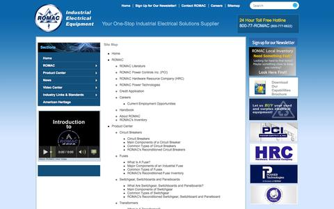 Screenshot of Site Map Page romacsupply.com - ROMAC Supply  Industrial Electric Breakers and Components | 7400 Bandini Blvd Commerce, CA 90040 | (800) 777-6622 - captured Oct. 7, 2014