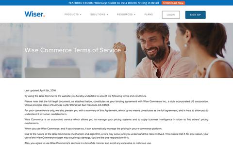 Screenshot of Support Page wiser.com - Wise Commerce Terms of Service - captured Nov. 9, 2016