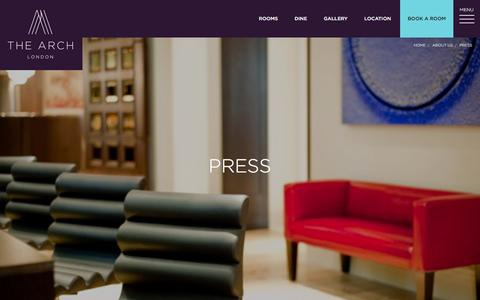 Screenshot of Press Page thearchlondon.com - Press & Reviews for The Arch luxury hotel in London - captured Feb. 18, 2016