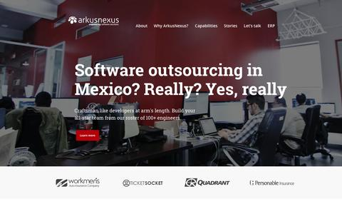 Screenshot of Home Page arkusnexus.com - Software outsourcing in Mexico | ArkusNexus - captured Sept. 30, 2014