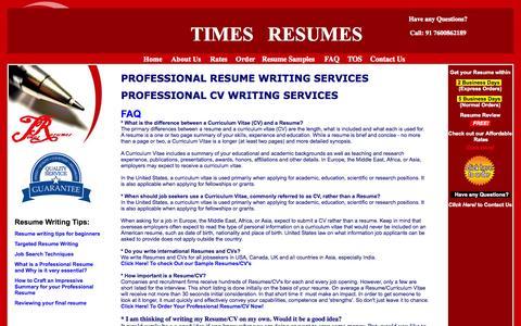 Screenshot of FAQ Page timesresumes.com - Times Resumes - Professional Resume Writing Services In Vadodara India,Professional CV Writing Services In Vadodara India - captured Nov. 4, 2014