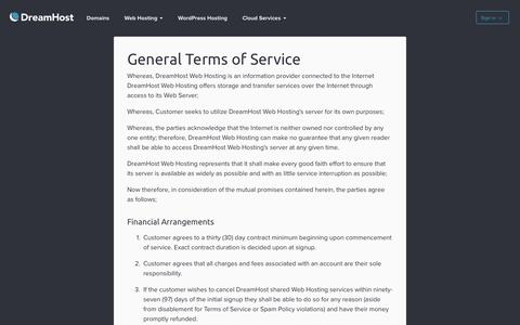 Screenshot of Terms Page dreamhost.com - Terms of Service – DreamHost - captured Aug. 19, 2016
