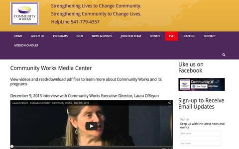 Screenshot of Press Page community-works.org - Media - Community Works - captured Dec. 10, 2015
