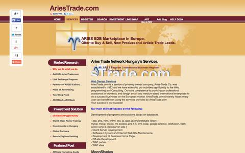Screenshot of Services Page ariestrade.com - Business consultancy. Web Solutions in Web Design and Search Engine Optimization services. - captured Sept. 25, 2014