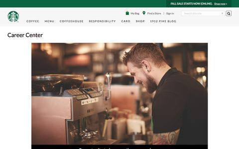 Screenshot of Jobs Page starbucks.com - Career Center | Starbucks Coffee Company - captured Oct. 21, 2015