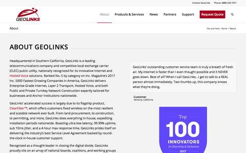 Screenshot of About Page geolinks.com - About GeoLinks — Enterprise-Grade Internet Solutions - captured Jan. 13, 2018