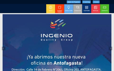Screenshot of Home Page ingenioquality.com - Ingenio Quality - Consultoría ISO - captured Nov. 18, 2016