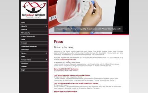 Screenshot of Press Page biovac.co.za - Press - captured Oct. 26, 2014