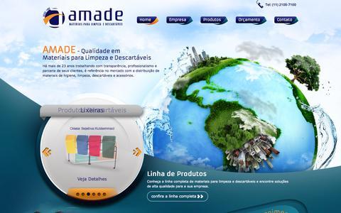 Screenshot of Home Page amade.com.br - Amade   Materiais para limpeza e descartáveis - captured Sept. 19, 2014